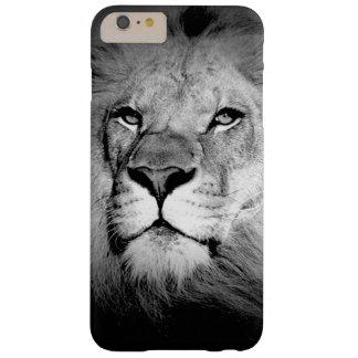 Caso más del iPhone 6 negros y blancos del león Funda Barely There iPhone 6 Plus