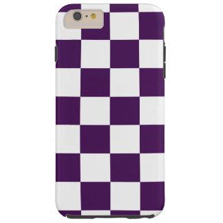 Caso más del iPhone 6 púrpuras y blancos a cuadros