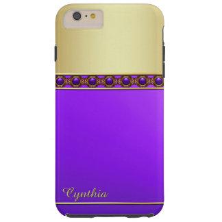 Caso más del iPhone 6 púrpuras y dorados Funda De iPhone 6 Plus Tough