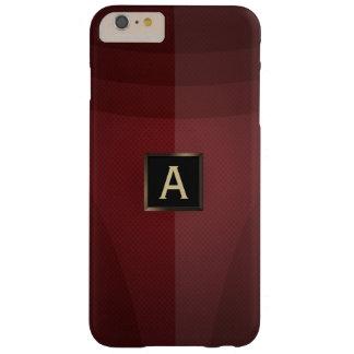 Caso más del iPhone 6 rojos modernos del monograma Funda De iPhone 6 Plus Barely There