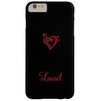 Caso más del iPhone 6 rojos y negros del corazón Funda Barely There iPhone 6 Plus