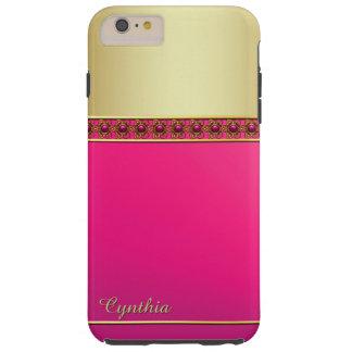 Caso más del iPhone 6 rosados y dorados atractivos Funda De iPhone 6 Plus Tough