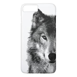 Caso más del iPhone 7 del negro y de White Wolf Funda iPhone 7 Plus