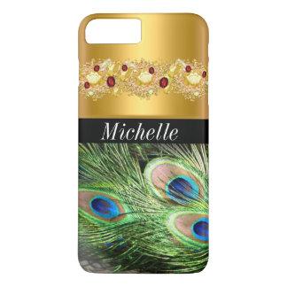 Caso más del iPhone hermoso 7 del oro y del pavo Funda iPhone 7 Plus