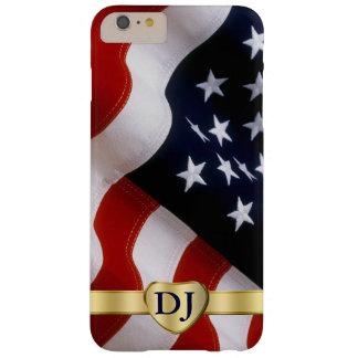 Caso más del monograma del iPhone 6 de la bandera Funda De iPhone 6 Plus Barely There