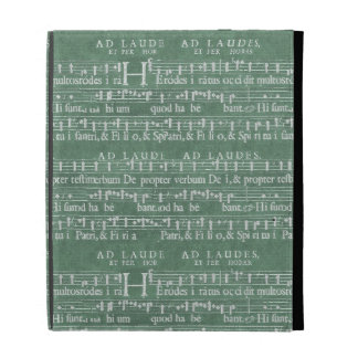 Caso medieval del iPad del manuscrito de la música