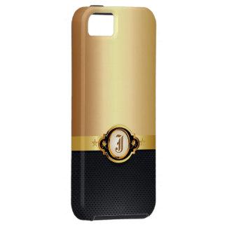 Caso metálico del iPhone 5 del oro de cuero oscuro iPhone 5 Funda