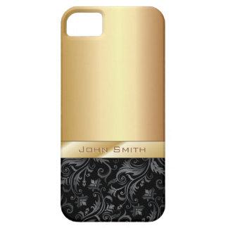 Caso metálico del iPhone 5 del oro floral oscuro d iPhone 5 Coberturas