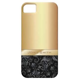 Caso metálico del iPhone 5 del oro floral oscuro iPhone 5 Funda