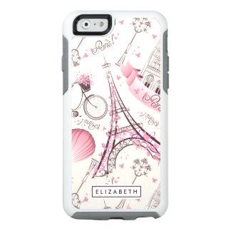 Caso moderno de OtterBox de la torre Eiffel rosada Funda Otterbox Para iPhone 6/6s