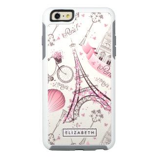 Caso moderno de OtterBox de la torre Eiffel rosada Funda Otterbox Para iPhone 6/6s Plus