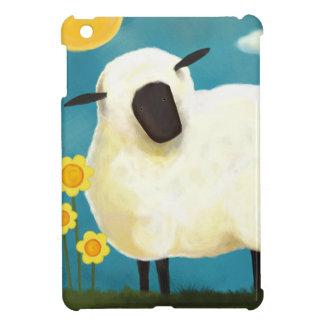 Caso mullido del iPad de las ovejas y de las flore