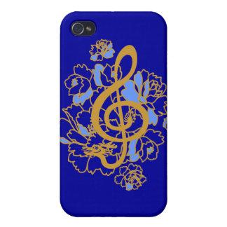 Caso musical de los peonies IPhone4 del clef agudo iPhone 4/4S Funda