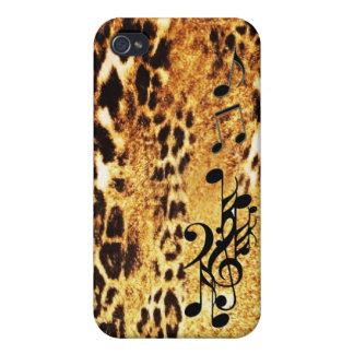 Caso musical del iPhone de la piel del leopardo iPhone 4/4S Carcasa