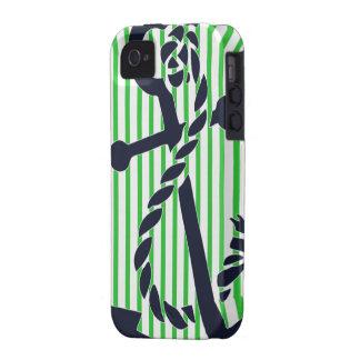 Caso náutico 4 4s del iphone de la raya del verde  vibe iPhone 4 carcasa