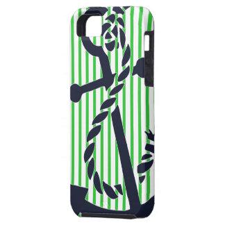 Caso náutico 4 del iphone de la raya del verde de  iPhone 5 carcasa