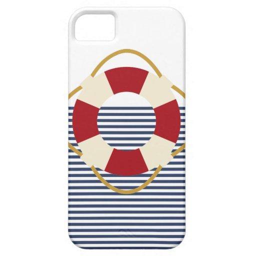 Caso náutico del iphone. Rojo, blanco y azules Funda Para iPhone SE/5/5s