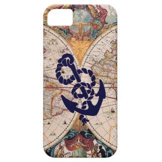 Caso náutico del marinero del ancla del mapa de Vi iPhone 5 Case-Mate Protector