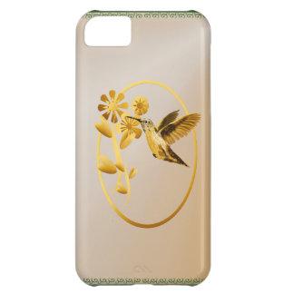 Caso oval del iPhone 5 del colibrí del oro Funda Para iPhone 5C