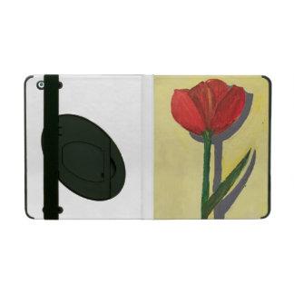 Caso pintado a mano del iPad del tulipán con