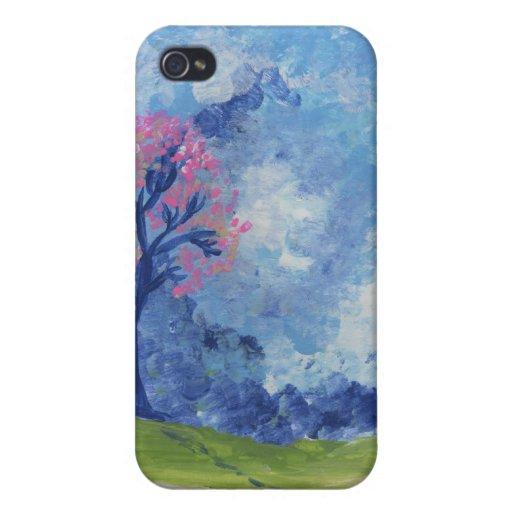 Caso pintado paisaje azul alegre de Iphone de la e iPhone 4/4S Fundas