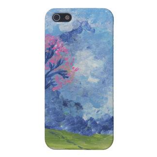 Caso pintado paisaje azul alegre de Iphone de la e iPhone 5 Funda
