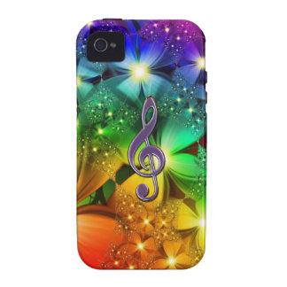 Caso psicodélico del Clef de la música del arco ir iPhone 4 Carcasas