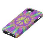 Caso psicodélico del iPhone 5 del símbolo de paz d iPhone 5 Case-Mate Carcasas