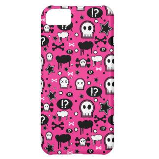 Caso punky femenino rosado del iPhone 5 del cráneo