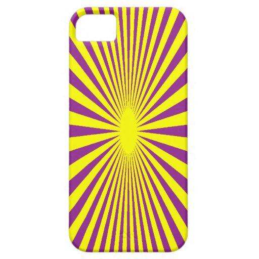 Caso púrpura y amarillo del teléfono iPhone 5 funda