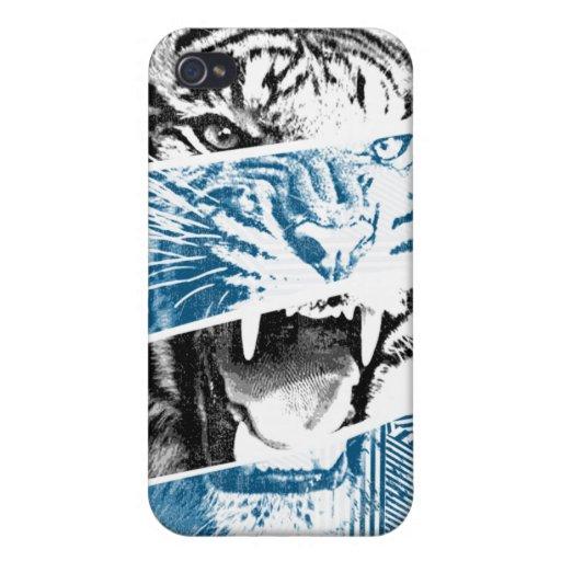 Caso rayado de Iphone 4 del tigre iPhone 4 Protectores