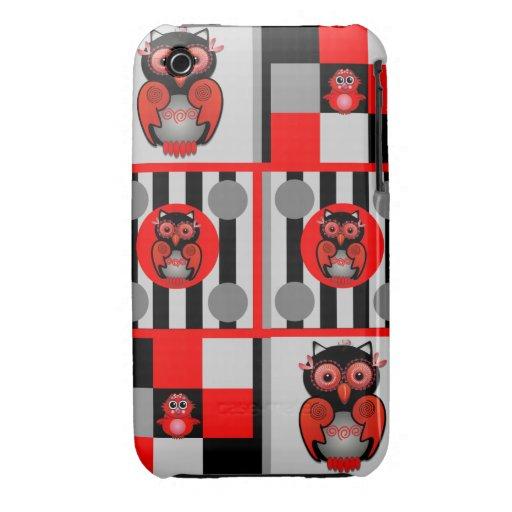 Caso rayas y del iPhone lindos 3G/3GS de los búhos Case-Mate iPhone 3 Fundas