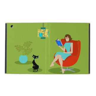 Caso retro del iPad de la mujer de la lectura