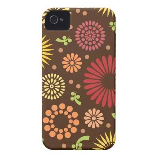 Caso retro del iPhone 4/4S de los girasoles Funda Para iPhone 4 De Case-Mate
