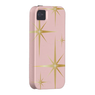 Caso retro del iPhone 4 4S de Starburst - rosa iPhone 4 Fundas