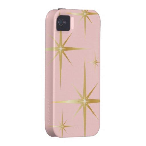 Caso retro del iPhone 4/4S de Starburst - rosa iPhone 4 Fundas