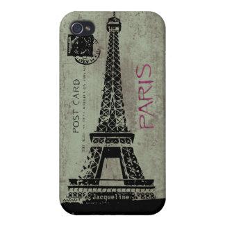 Caso retro del iPhone 4 de la postal de París de l iPhone 4 Coberturas