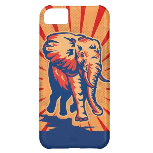 Caso retro del iPhone 5 c del estilo del elefante