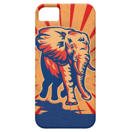 Caso retro del iPhone 5 del estilo del elefante iPhone 5 Case-Mate Protector