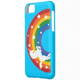 Caso retro del iPhone 5C del unicornio del arco ir Funda Para iPhone 5C