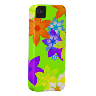 Caso retro del iPhone del arte del flower power de iPhone 4 Case-Mate Fundas