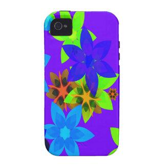 Caso retro del iPhone del arte del flower power de iPhone 4 Fundas