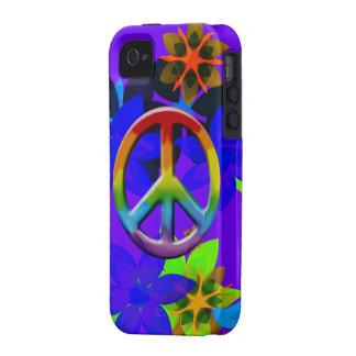 Caso retro del iPhone del arte del signo de la paz iPhone 4/4S Funda