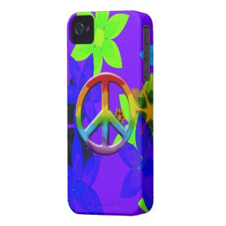 Caso retro del iPhone del arte del signo de la paz Case-Mate iPhone 4 Protector