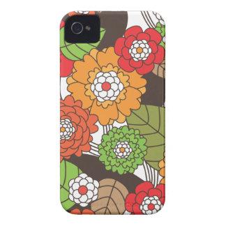 Caso retro del iphone del estampado de flores de l Case-Mate iPhone 4 protector