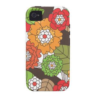 Caso retro del iphone del estampado de flores de l vibe iPhone 4 funda