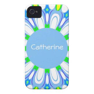 Caso retro del iPhone del monograma de la flor azu Case-Mate iPhone 4 Carcasa