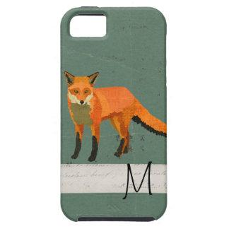Caso retro del iPhone del monograma del Fox Funda Para iPhone 5 Tough