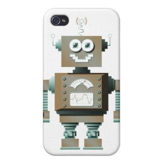 Caso retro del iPhone del robot del juguete (lt) iPhone 4/4S Fundas