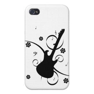 Caso retro enrrollado del iphone 4 de la guitarra iPhone 4 coberturas
